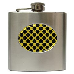 Circles2 Black Marble & Yellow Leather Hip Flask (6 Oz)