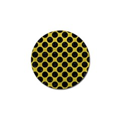 Circles2 Black Marble & Yellow Leather Golf Ball Marker (10 Pack)