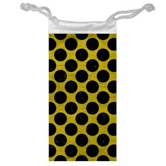 Circles2 Black Marble & Yellow Leather Jewelry Bag