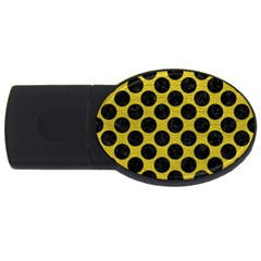 Circles2 Black Marble & Yellow Leather Usb Flash Drive Oval (4 Gb)