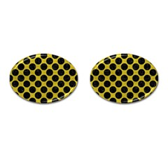 Circles2 Black Marble & Yellow Leather Cufflinks (oval)