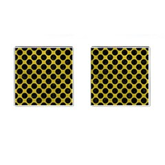 Circles2 Black Marble & Yellow Leather Cufflinks (square)
