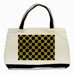 Circles2 Black Marble & Yellow Leather Basic Tote Bag