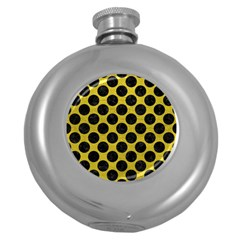 Circles2 Black Marble & Yellow Leather Round Hip Flask (5 Oz)