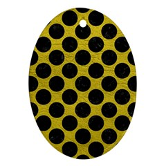 Circles2 Black Marble & Yellow Leather Oval Ornament (two Sides)