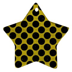Circles2 Black Marble & Yellow Leather Star Ornament (two Sides)
