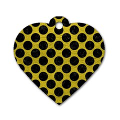 Circles2 Black Marble & Yellow Leather Dog Tag Heart (one Side)