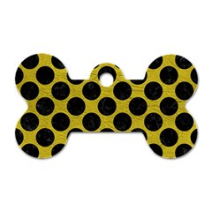 Circles2 Black Marble & Yellow Leather Dog Tag Bone (one Side)