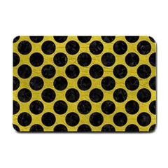 Circles2 Black Marble & Yellow Leather Small Doormat