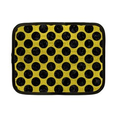 Circles2 Black Marble & Yellow Leather Netbook Case (small)