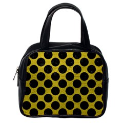 Circles2 Black Marble & Yellow Leather Classic Handbags (one Side)