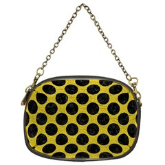 Circles2 Black Marble & Yellow Leather Chain Purses (one Side)