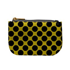 Circles2 Black Marble & Yellow Leather Mini Coin Purses
