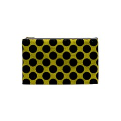 Circles2 Black Marble & Yellow Leather Cosmetic Bag (small)