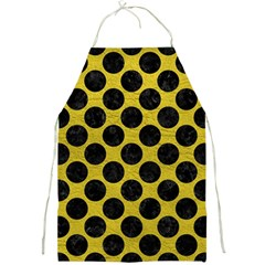 Circles2 Black Marble & Yellow Leather Full Print Aprons