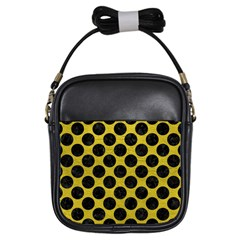 Circles2 Black Marble & Yellow Leather Girls Sling Bags