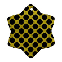 Circles2 Black Marble & Yellow Leather Snowflake Ornament (two Sides)