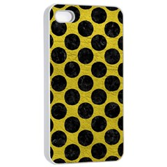 Circles2 Black Marble & Yellow Leather Apple Iphone 4/4s Seamless Case (white)
