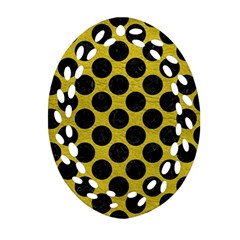 Circles2 Black Marble & Yellow Leather Oval Filigree Ornament (two Sides)