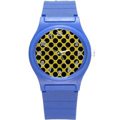Circles2 Black Marble & Yellow Leather Round Plastic Sport Watch (s)