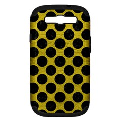 Circles2 Black Marble & Yellow Leather Samsung Galaxy S Iii Hardshell Case (pc+silicone)