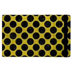 Circles2 Black Marble & Yellow Leather Apple Ipad 2 Flip Case