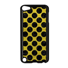 Circles2 Black Marble & Yellow Leather Apple Ipod Touch 5 Case (black)
