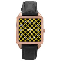 Circles2 Black Marble & Yellow Leather Rose Gold Leather Watch