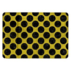 Circles2 Black Marble & Yellow Leather Samsung Galaxy Tab 8 9  P7300 Flip Case