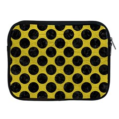 Circles2 Black Marble & Yellow Leather Apple Ipad 2/3/4 Zipper Cases