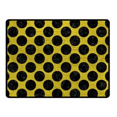 Circles2 Black Marble & Yellow Leather Double Sided Fleece Blanket (small)