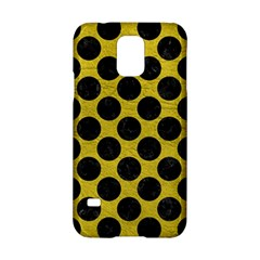 Circles2 Black Marble & Yellow Leather Samsung Galaxy S5 Hardshell Case
