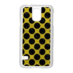 Circles2 Black Marble & Yellow Leather Samsung Galaxy S5 Case (white)