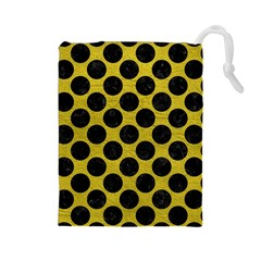 Circles2 Black Marble & Yellow Leather Drawstring Pouches (large)