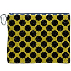 Circles2 Black Marble & Yellow Leather Canvas Cosmetic Bag (xxxl)