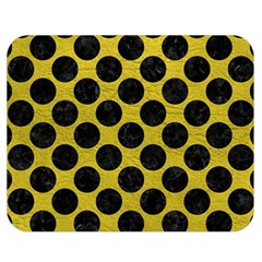 Circles2 Black Marble & Yellow Leather Double Sided Flano Blanket (medium)