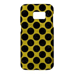 Circles2 Black Marble & Yellow Leather Samsung Galaxy S7 Hardshell Case