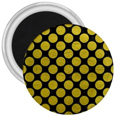 Circles2 Black Marble & Yellow Leather (r) 3  Magnets