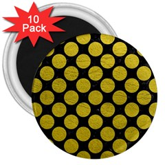 Circles2 Black Marble & Yellow Leather (r) 3  Magnets (10 Pack)
