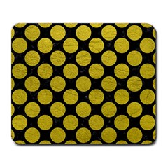 Circles2 Black Marble & Yellow Leather (r) Large Mousepads