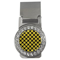 Circles2 Black Marble & Yellow Leather (r) Money Clips (cz)