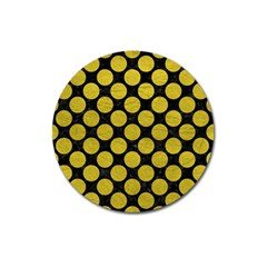 Circles2 Black Marble & Yellow Leather (r) Magnet 3  (round)