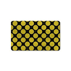 Circles2 Black Marble & Yellow Leather (r) Magnet (name Card)