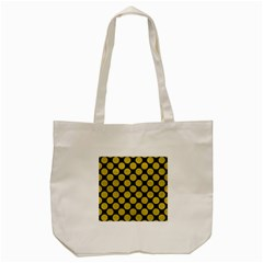 Circles2 Black Marble & Yellow Leather (r) Tote Bag (cream)