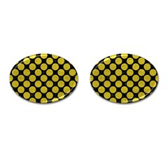 Circles2 Black Marble & Yellow Leather (r) Cufflinks (oval)