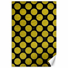 Circles2 Black Marble & Yellow Leather (r) Canvas 12  X 18