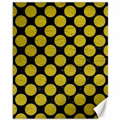 Circles2 Black Marble & Yellow Leather (r) Canvas 16  X 20