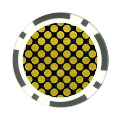 Circles2 Black Marble & Yellow Leather (r) Poker Chip Card Guard