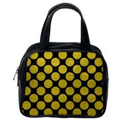 Circles2 Black Marble & Yellow Leather (r) Classic Handbags (one Side)