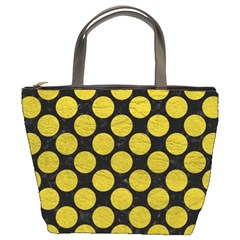 Circles2 Black Marble & Yellow Leather (r) Bucket Bags